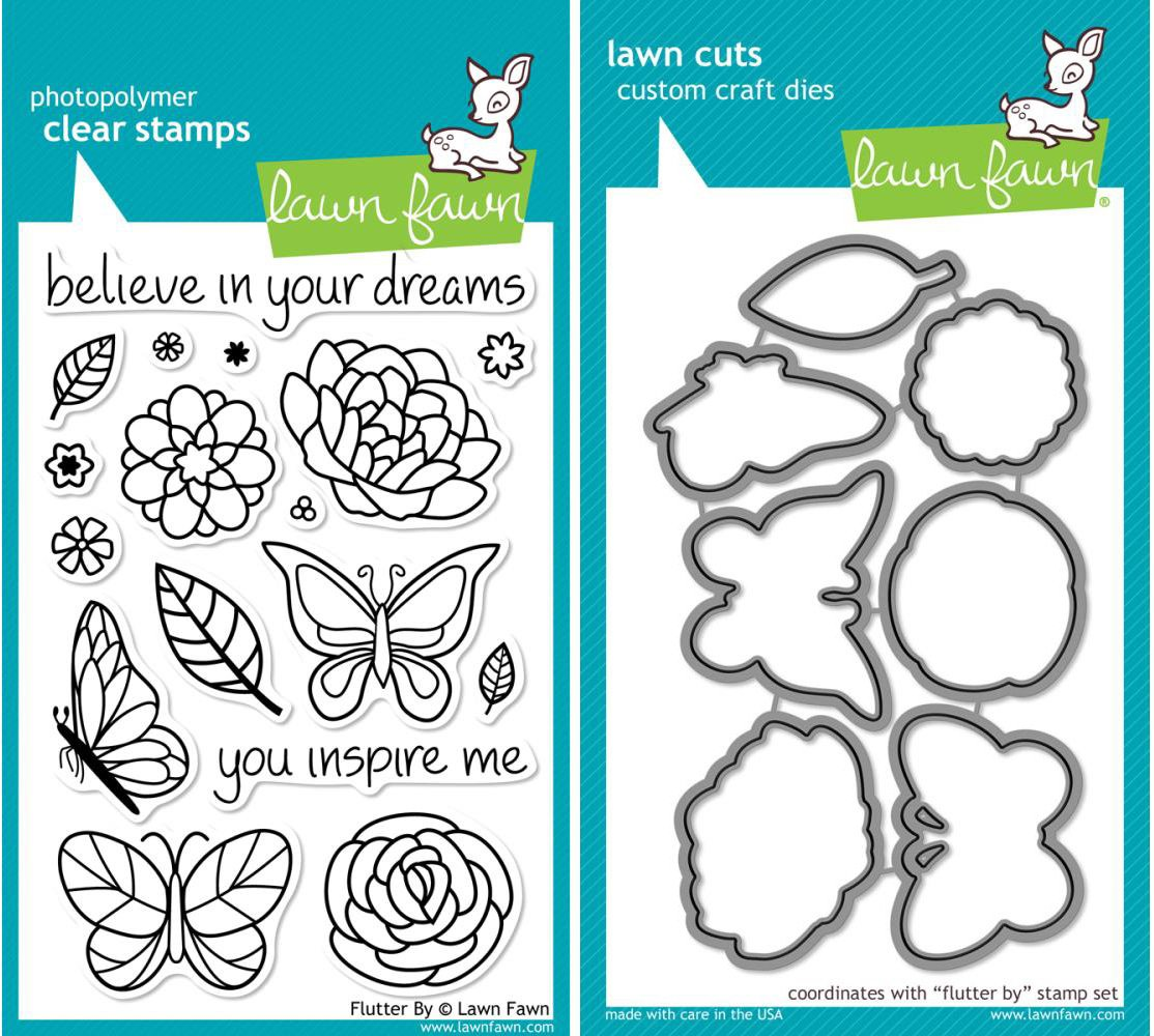 Lawn Fawn - Flutter By - Clear Stamp and Die Set