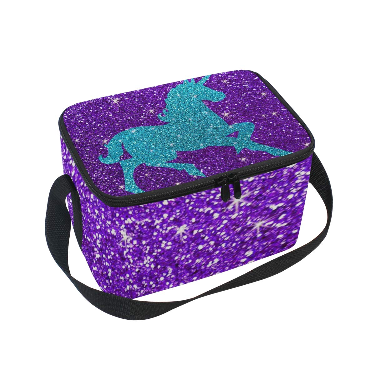 970b602c516f Amazon.com: Lunch Box Insulated Lunch Bag Glitter Unicorn Cooler Bag ...