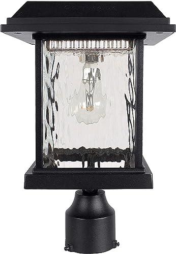 GAMA SONIC Aspen Solar Post Light, Outdoor Solar Powered LED Light, 3 Post Mount, Black GS-8F