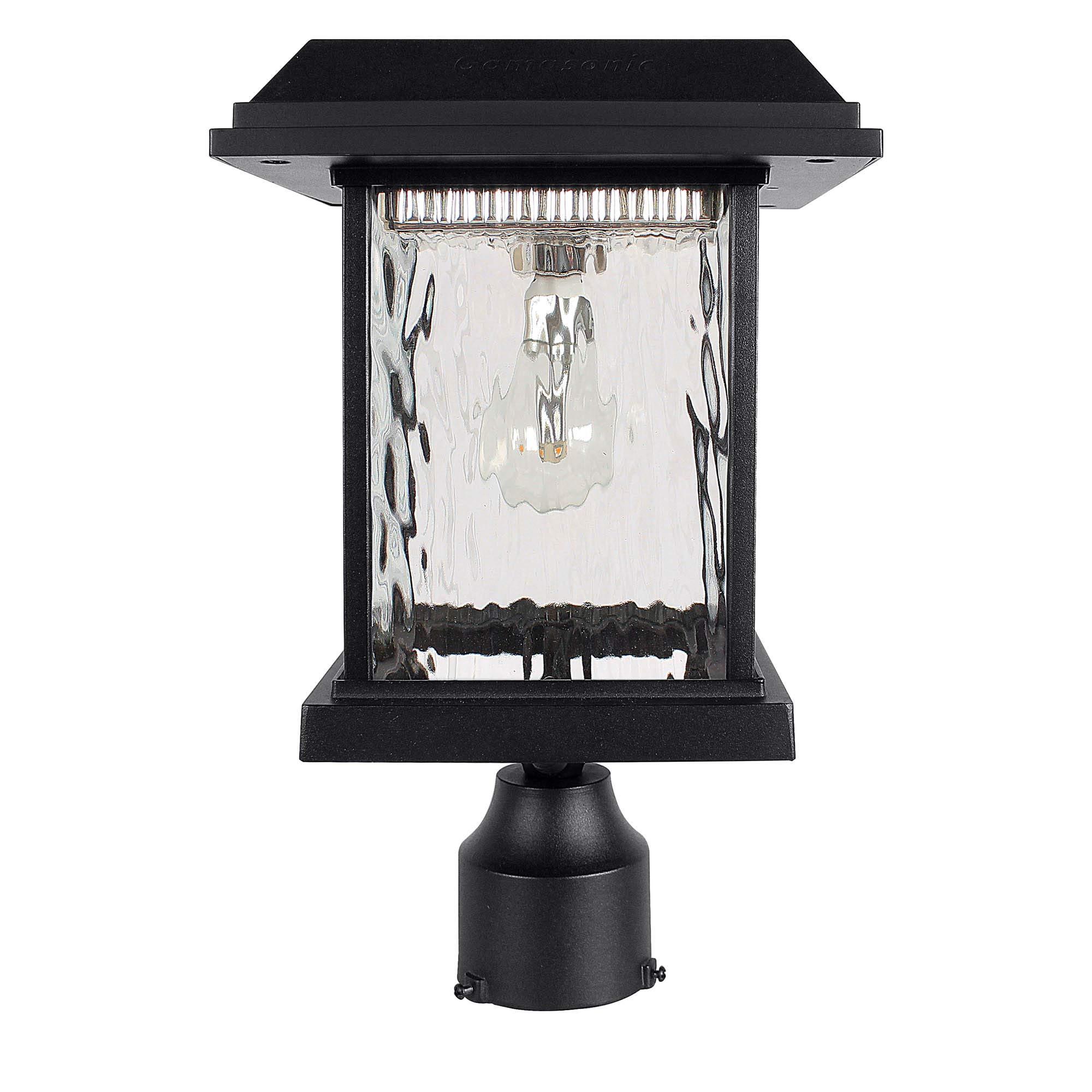 GAMA SONIC Aspen Solar Post Light, Outdoor Solar Powered LED Light, 3'' Post Mount, Black GS-8F