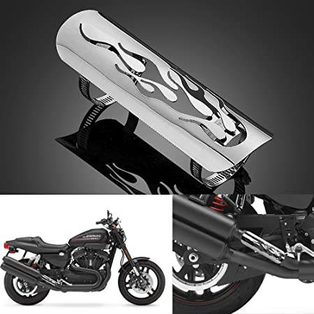 Custom 9u0026quot; Chrome Polished Stainless Steel Flame Exhaust Muffler Pipe Heat Shield Cover Heel Guard & Custom 9