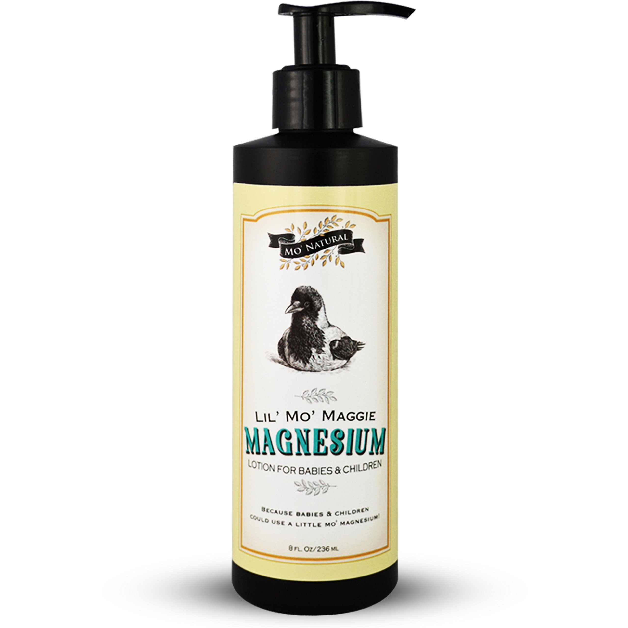 Lil' Mo' Maggie Magnesium Lotion for Babies & Children - Pure and Gentle - 600 mg/oz - 100 mg/TSP. - Organic Oils & Shea Butter - 8 oz - by Mo' Natural by Mo' Natural