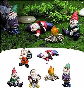 6Pcs Garden Gnomes Statues Miniatures Fairy Garden Collectible Gnomes Figurines Ornaments Patio Sculptures and Statues Decor for Outside Drunken Dwarfs Gnomes Garden Decorations Accessories