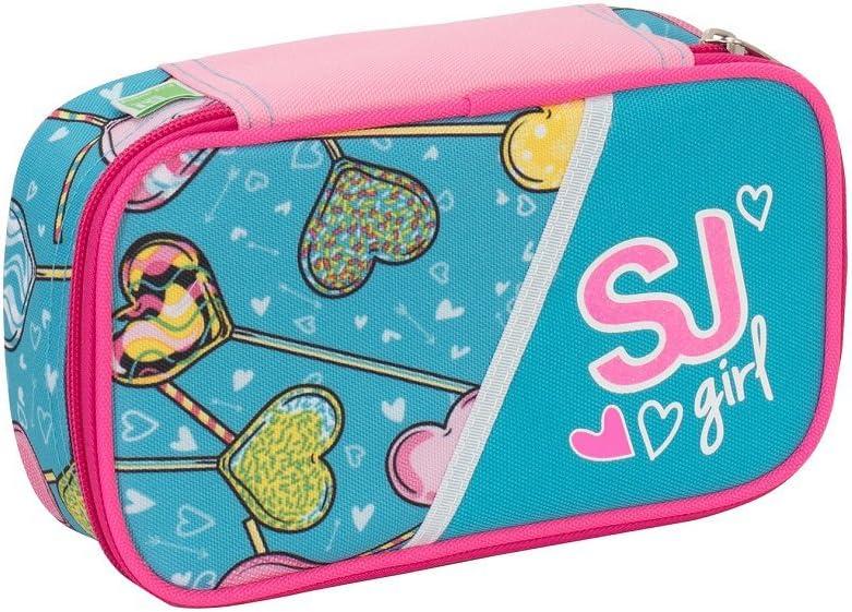 Seven - SJ Gang High Tech - Estuche escolar con rotuladores, lápices y más accesorios Rosa y azul.: Amazon.es: Deportes y aire libre
