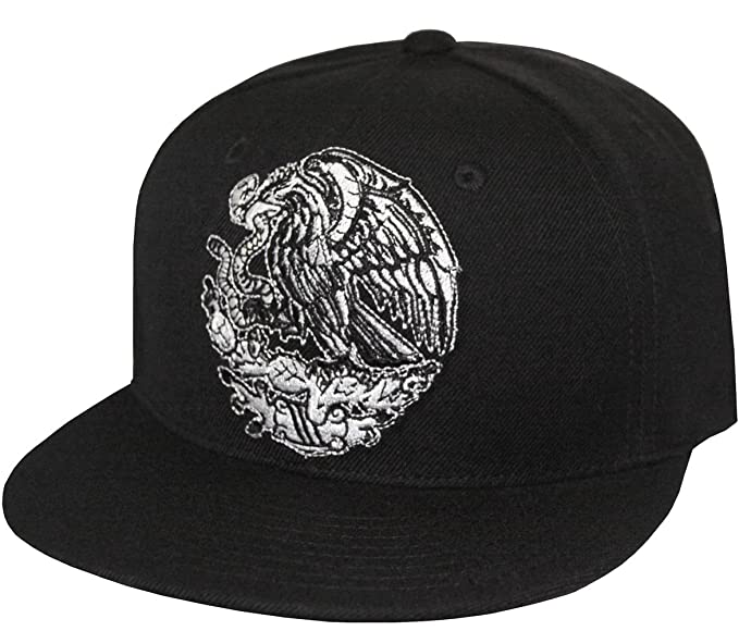 17afff2fae21c Mexican Golden Eagle Embroidered Flat Bill Snapback Cap (Black) at ...