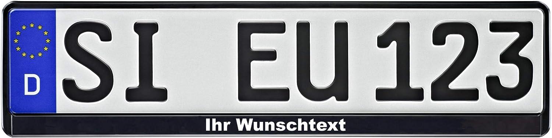 1 Kennzeichenhalter Schwarz Mit Wunschtext Beschriftet Kennzeichen Auto