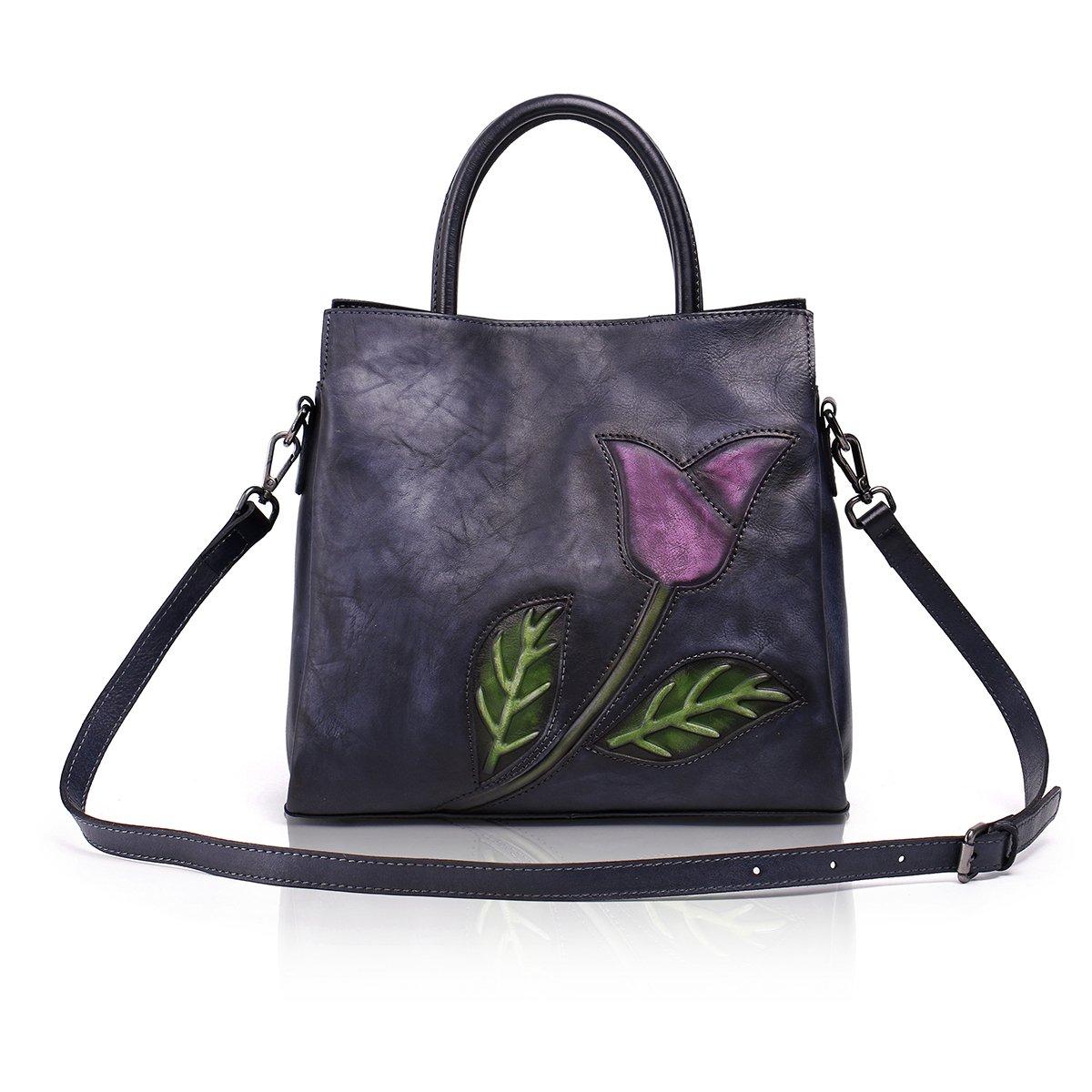 Aphison Designer Soft Leather Totes Handbags for Women, Ladies Satchels Shoulder Bags (BLACK) by APHISON (Image #2)