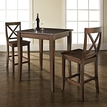 Crosley 3 Piece Pub Dining Set With Cabriole Leg And X Back Stools,