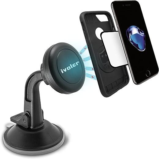 iVoler Supporto Magnetico Auto Universale Adesivo su Cruscotto Parabrezza, Porta Cellulare Auto Ventosa 360 Gradi di Rotazione per IPhone 7 / 7plus / 6 / 6plus /5 /5S / 5C, Samsung Galaxy S6 / S6 Edge / S5 / S4, Sony / Nexus / LG G5 / Huawei / HTC Ecc- Colore Nero