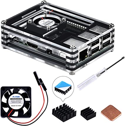GeeekPi - Carcasa para Raspberry Pi 3 modelo B+ (B Plus), con ventilador de refrigeración y 3