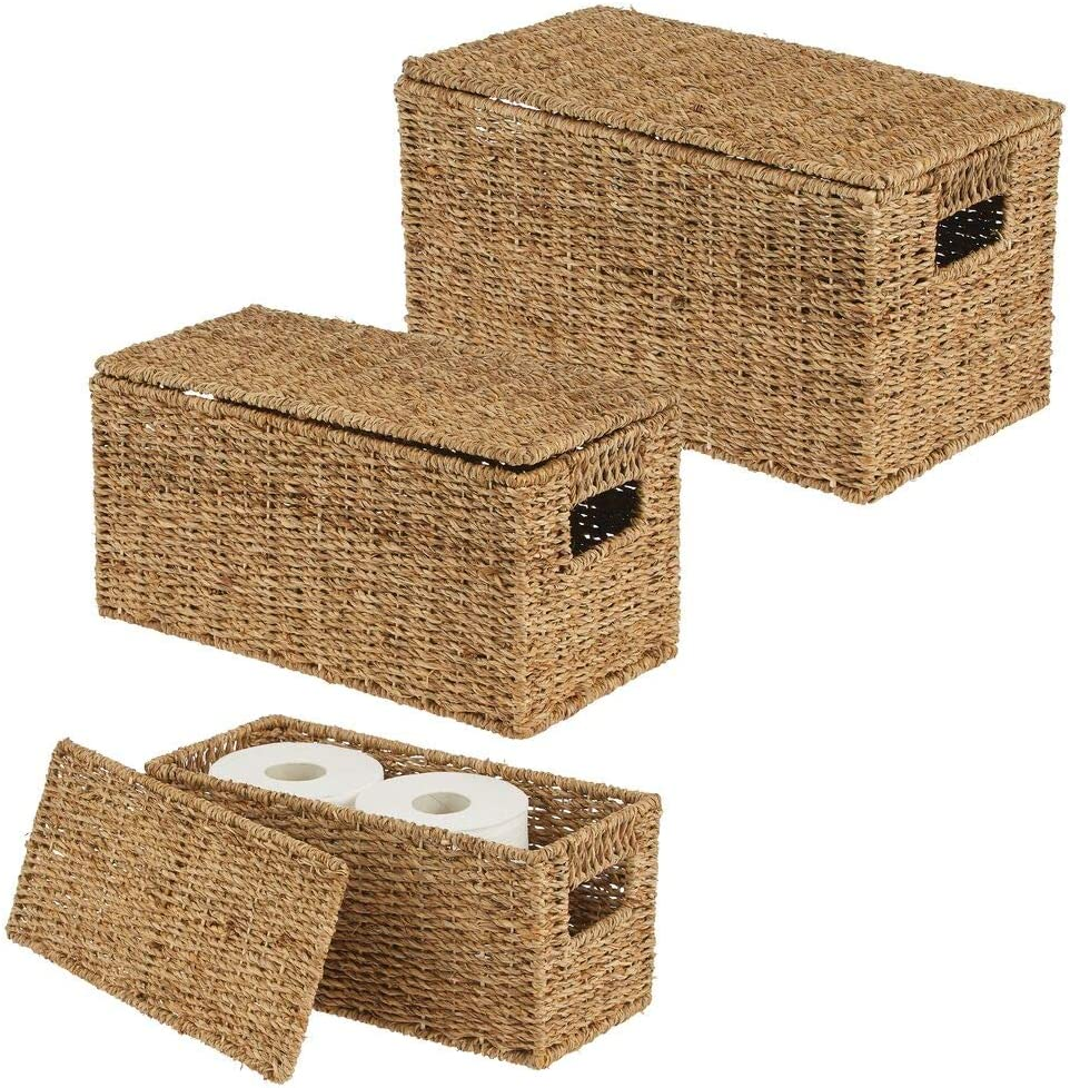 mDesign Natural Woven Seagrass Closet Storage Organizer Basket Bin with Removeable Lids to use in Closet, Bedroom, Bathroom, Entryway, Office - Set of 3 - Natural Finish