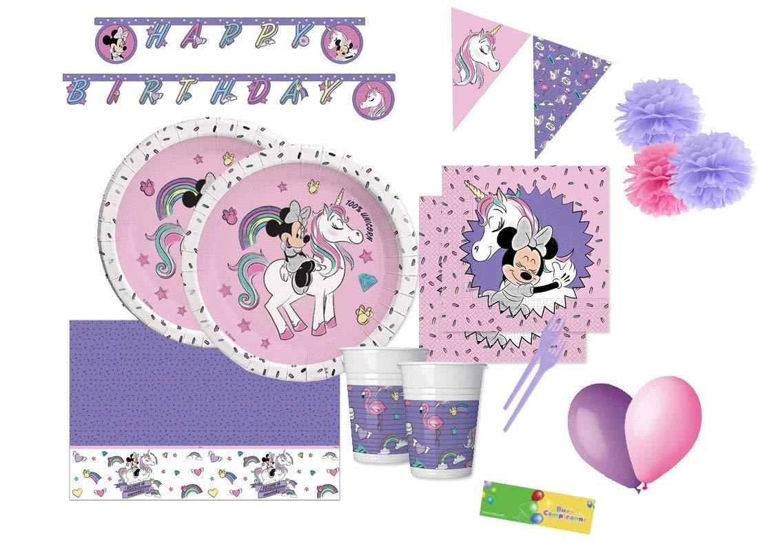 DECORATA PARTY Kit n 64 Decorazioni Compleanno Minnie Unicorn
