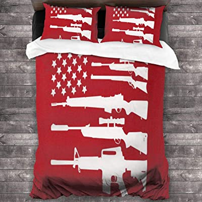 "Loveful Personalized Kids Bedding Duvet Cover Set American Flag Gun Twin Quilt Covers for Toddler Teen Boys Girls Children 3 Piece Soft Microfiber Comforter Cover Set with 2 Pillowcases 86""x70"": Home & Kitchen"