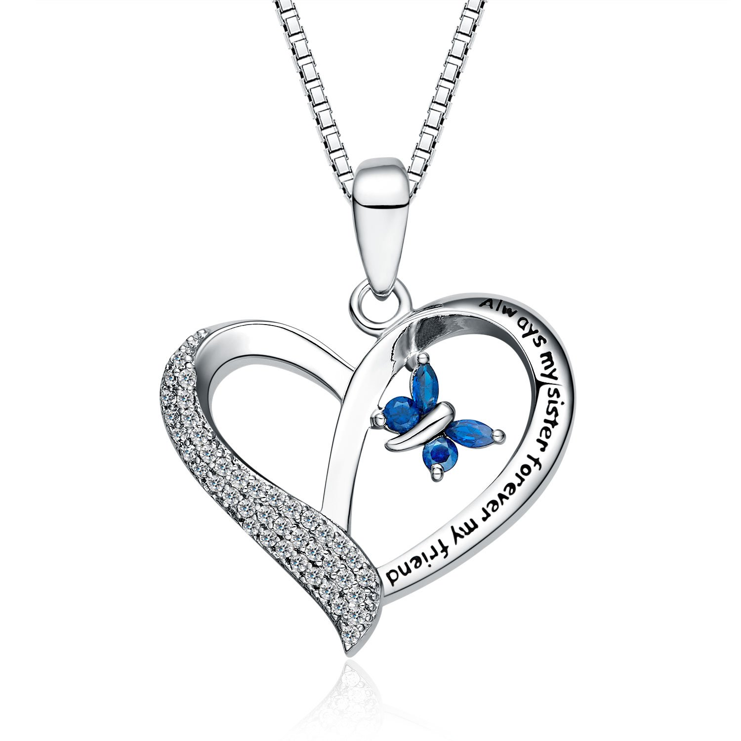 "FANCYCD Always My Sister Forever My Friend"" Love Heart Necklace, 18'', Jewelry for Women & Girls, Birthday Gifts for Sister, Best Friends."