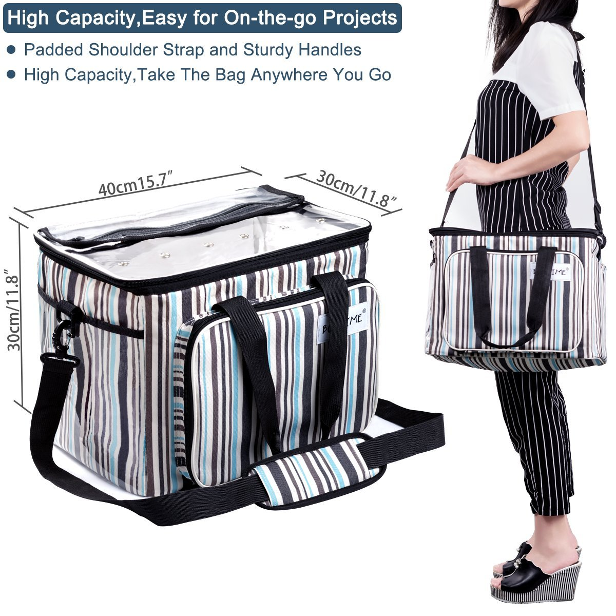 BONTIME Knitting Bag - High Capacity Striped Yarn Storage Tote Bag,Project Bags with Roomy Interior,Great for Organizing Everything You Need for Each of Projects,Large by BONTIME (Image #7)
