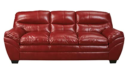 ashley tassler durablend leather sofa in crimson - Ashley Leather Sofa