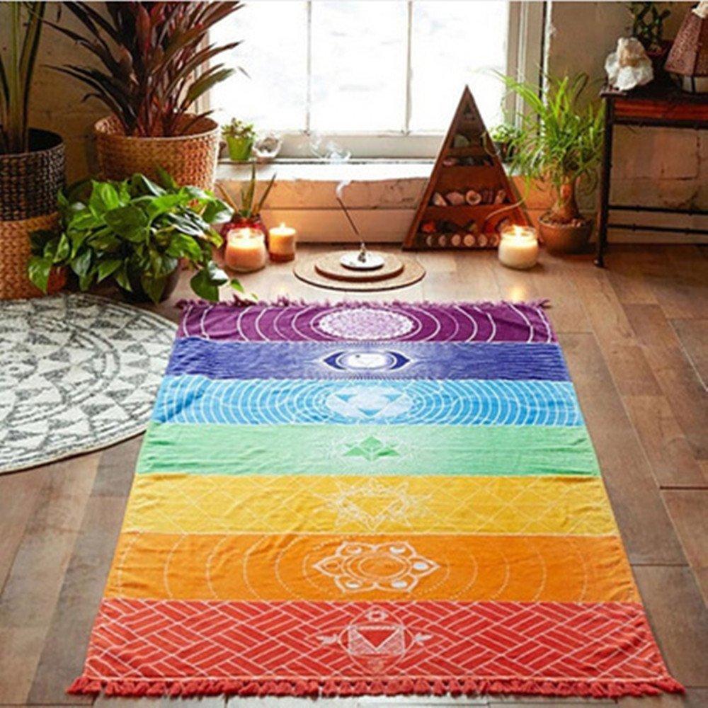 vanyda algodón Teos Fouta Pestemal Peshtemal toalla de baño playa Yoga toalla con flecos para el chakra del arco iris 150 x 75 cm/59 x cm: Amazon.es: Hogar