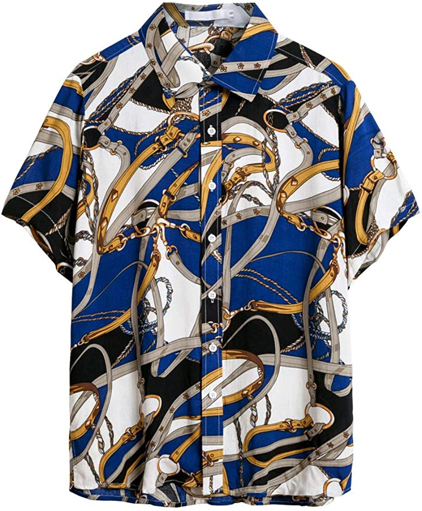 YANG-YI 2019 Hot Style Short Sleeve Button Shirt Mens Print Casual Hawaii Blouse Baggy Smooth Beach Top
