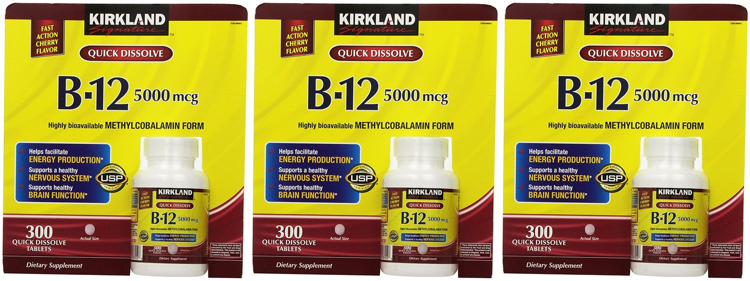 Kirkland Signature, Sublingual B-12 5000 mcg PiAJW 300 Tablets (Pack of 3)