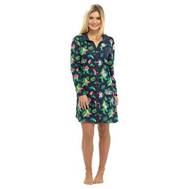 Damen-Sommer-Nachthemd, Baumwolle, Knopfleiste vorne, Nachtkleid ...