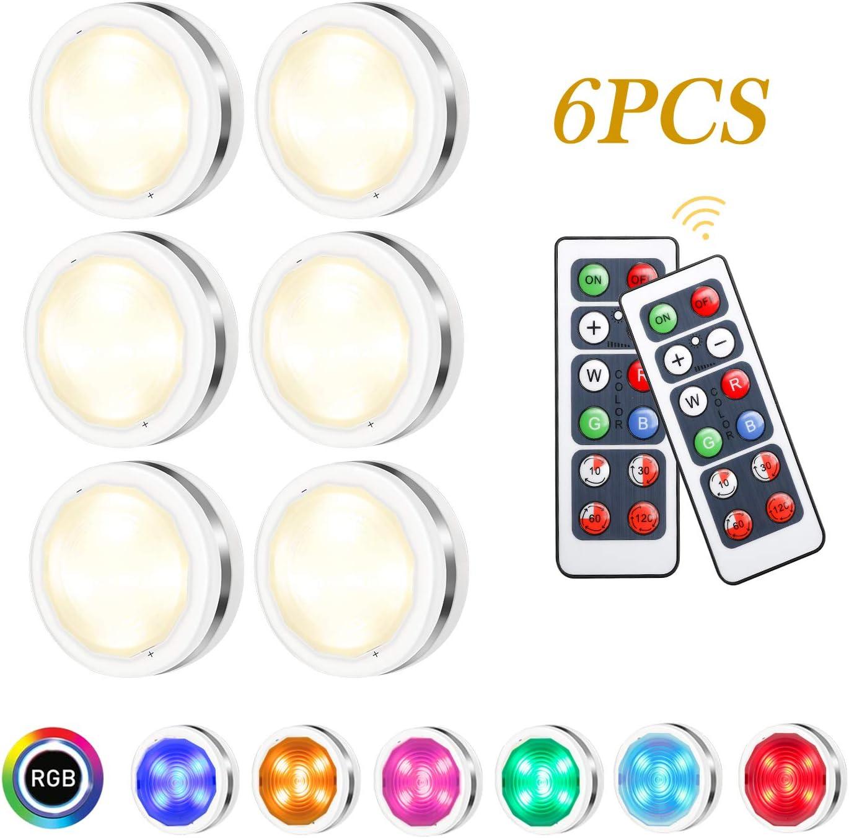Luz Nocturna LED, Tencoz 6 Pack Luz Nocturna Lámpara Armario Luces LED Inalámbricas con Dos Remoto, Luces de Armarios Regulables,Luces que Funcionan Para Armario Pasillo Vitrina Cocina Garaje