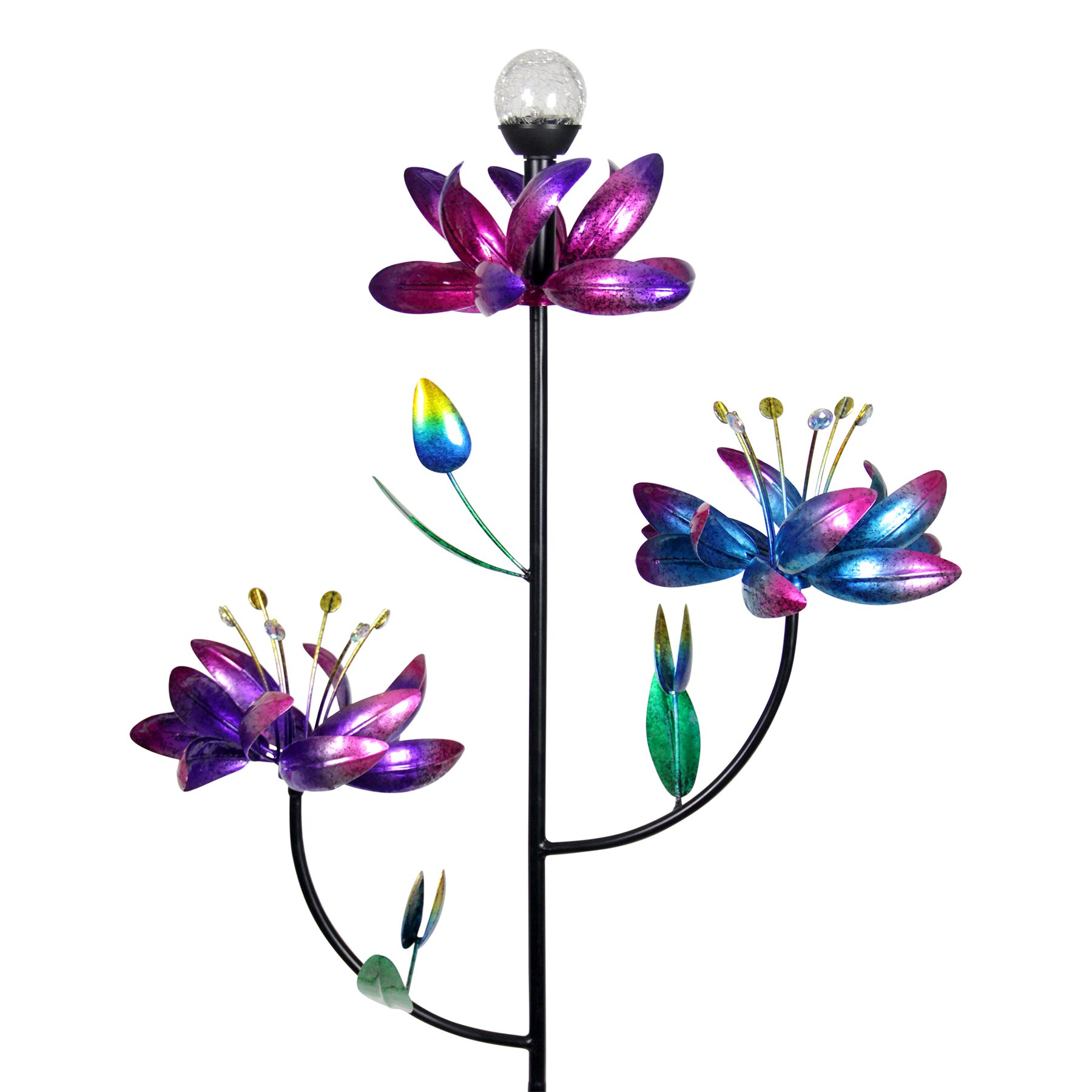 Exhart Triple Spinning Flower Garden Stake, Each Flower Spins Independently, Light Up Crackle Ball, Solar Powered