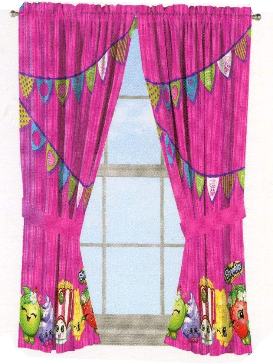 "Shopkins Microfiber Window Panels Curtains Drapes Pink Flag Style 42"" x 63"""