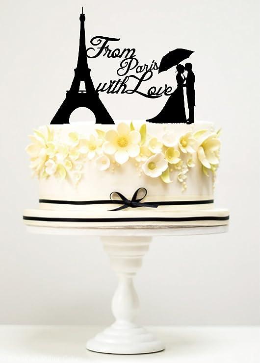 Romántico París Torre Eiffel Cake Topper Boda Cumpleaños De Acrílico Para Decoración