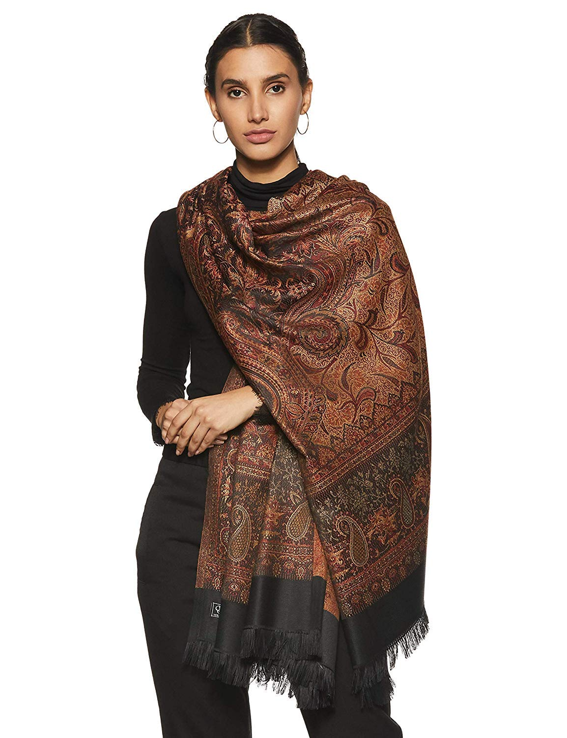 "Weavers Villa Women's Pashmina Wool Blend Indian Handicraft Woven Shawls Scarf Wraps [Large Size: 40"" X 80""]"