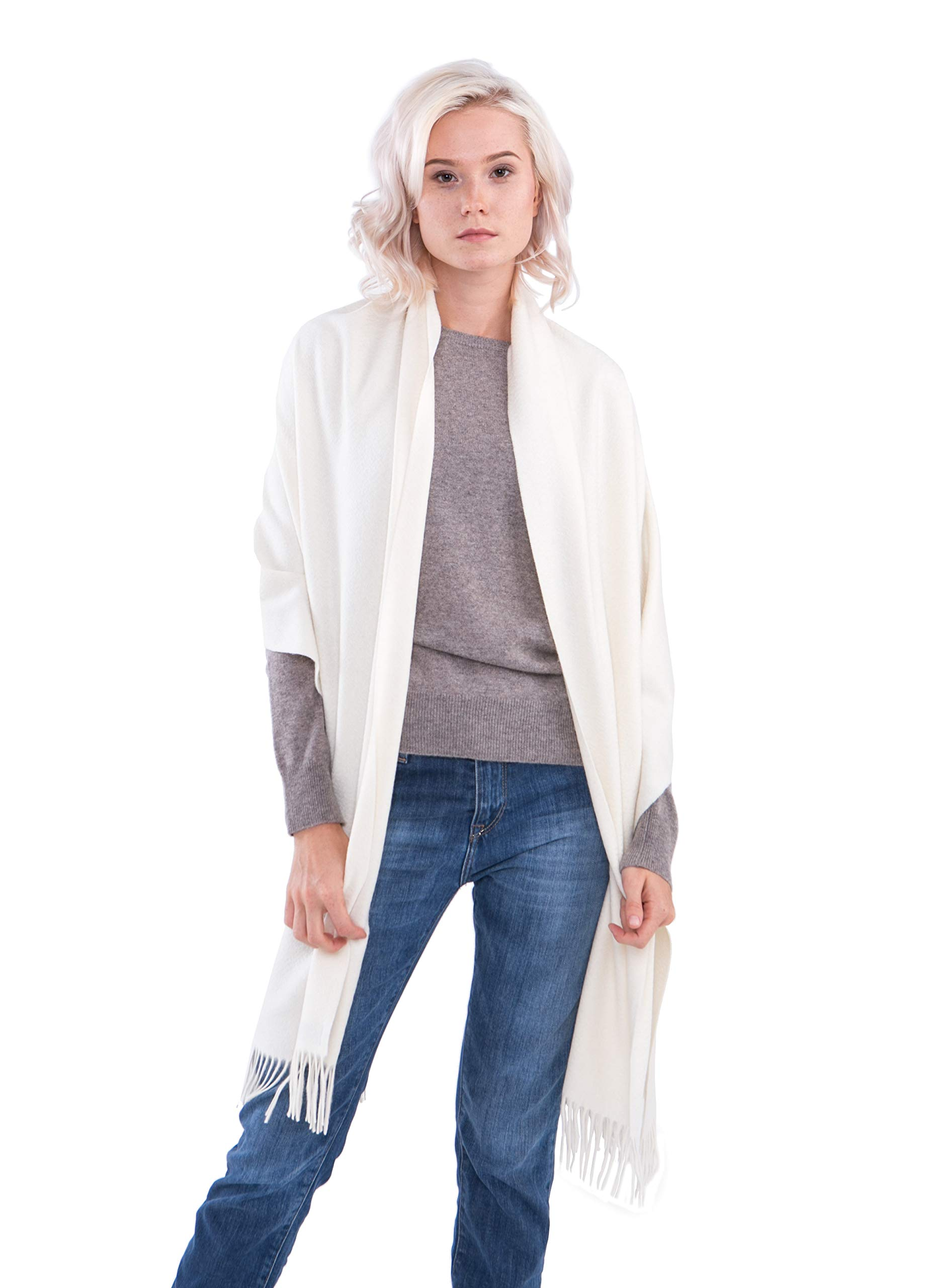 cashmere 4 U Women's 100% Cashmere Wrap for Travel Shawl Stole - Extra Large Scarf for Winter (Off-White)
