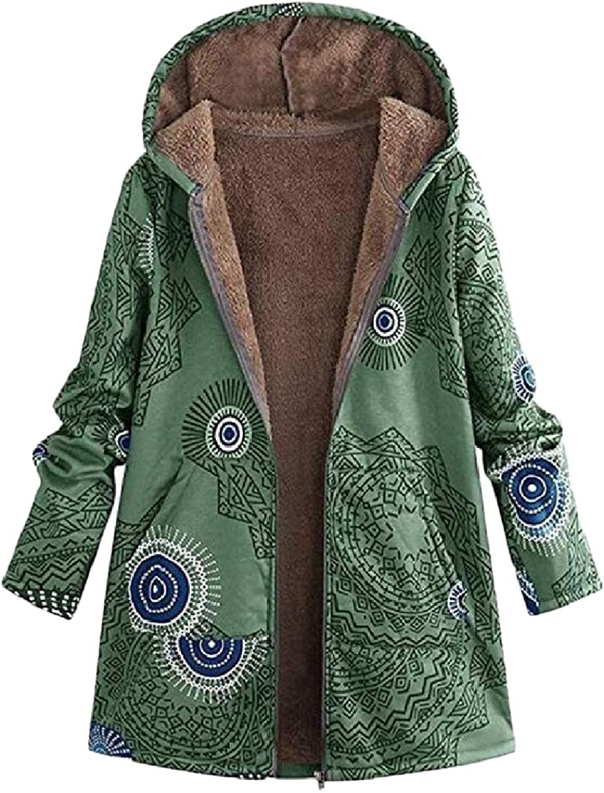 RingBong Womens Fashion Velvet Cardi Print Zip-up Hooded Outwear Coat Jackets