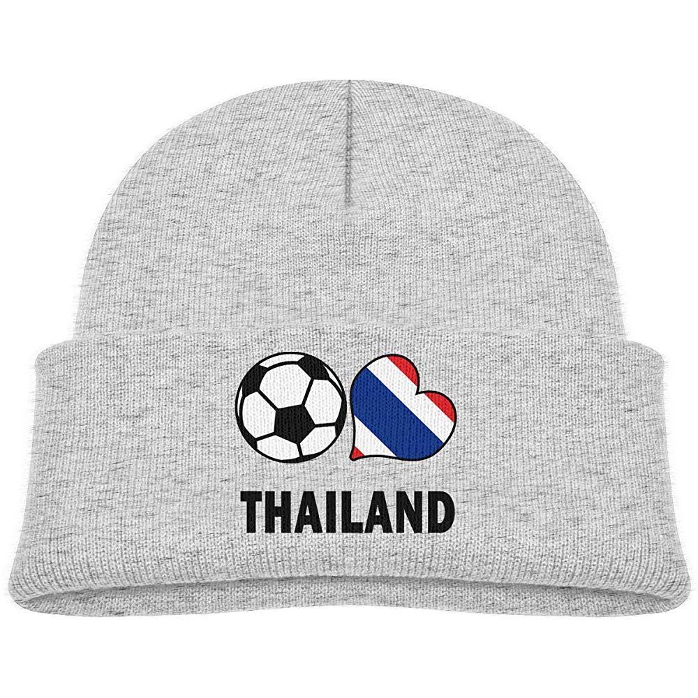Kid s Knit Beanie Hat Fútbol Corazón Fútbol Tailandia Bandera ...