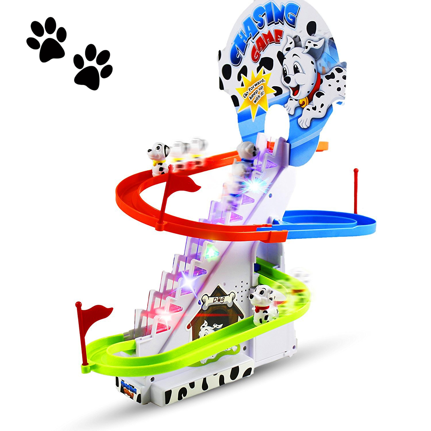 Haktoys Dalmatian Spotty Dog Chasing Game Playful Puppy Set | Upgraded Version Playful Playset with LED Flashing Lights and Music On/Off Button, Safe and Durable, Great Gift for Toddlers and Kids