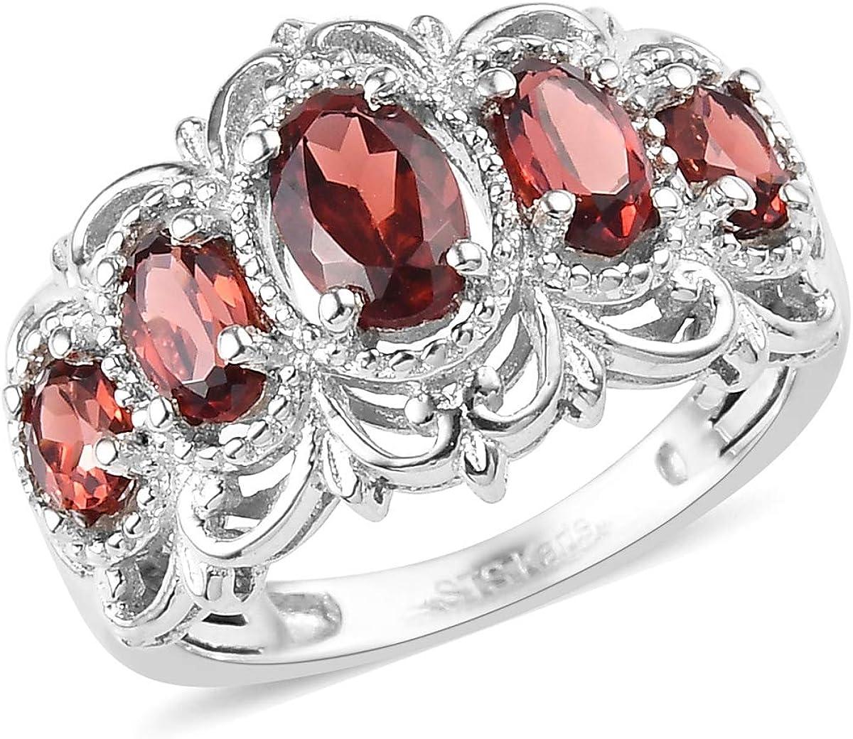 Shop LC Delivering Joy Platinum Oval Garnet 5 Stone Triquetra Celtic Knot Victorian Statement Ring Fashion Jewelry Ct 1.2