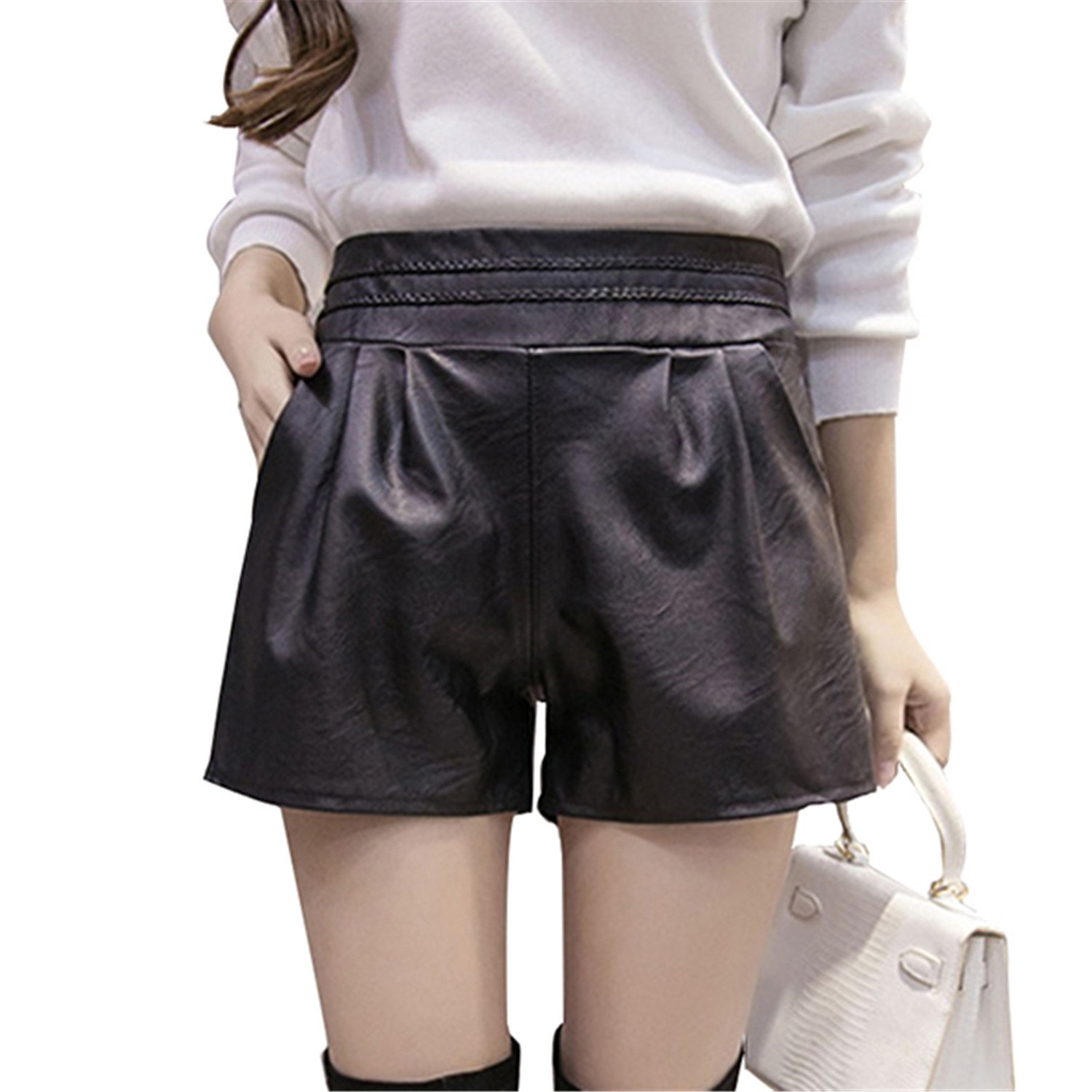 Ivan Johns 2018 Women Elastic Waist PU Leather Black Shorts Female Celebrity Same Loose Fashion Women Casual Shorts Plus Size