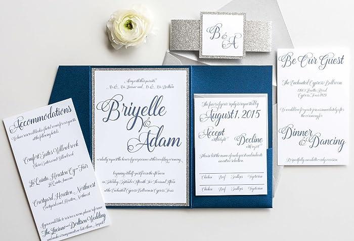 amazon com personalized glitter wedding invitation with pocketfold