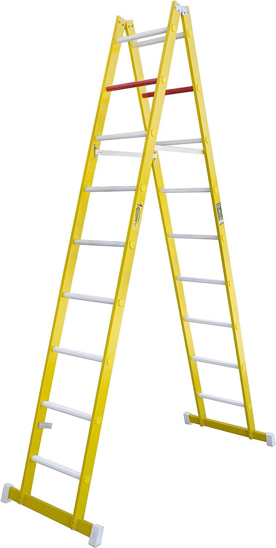 Escalera de tijera de doble subida aislante, fabricada en fibra de vidrio. Según norma UNE-EN 131 (9 peldaños): Amazon.es: Bricolaje y herramientas