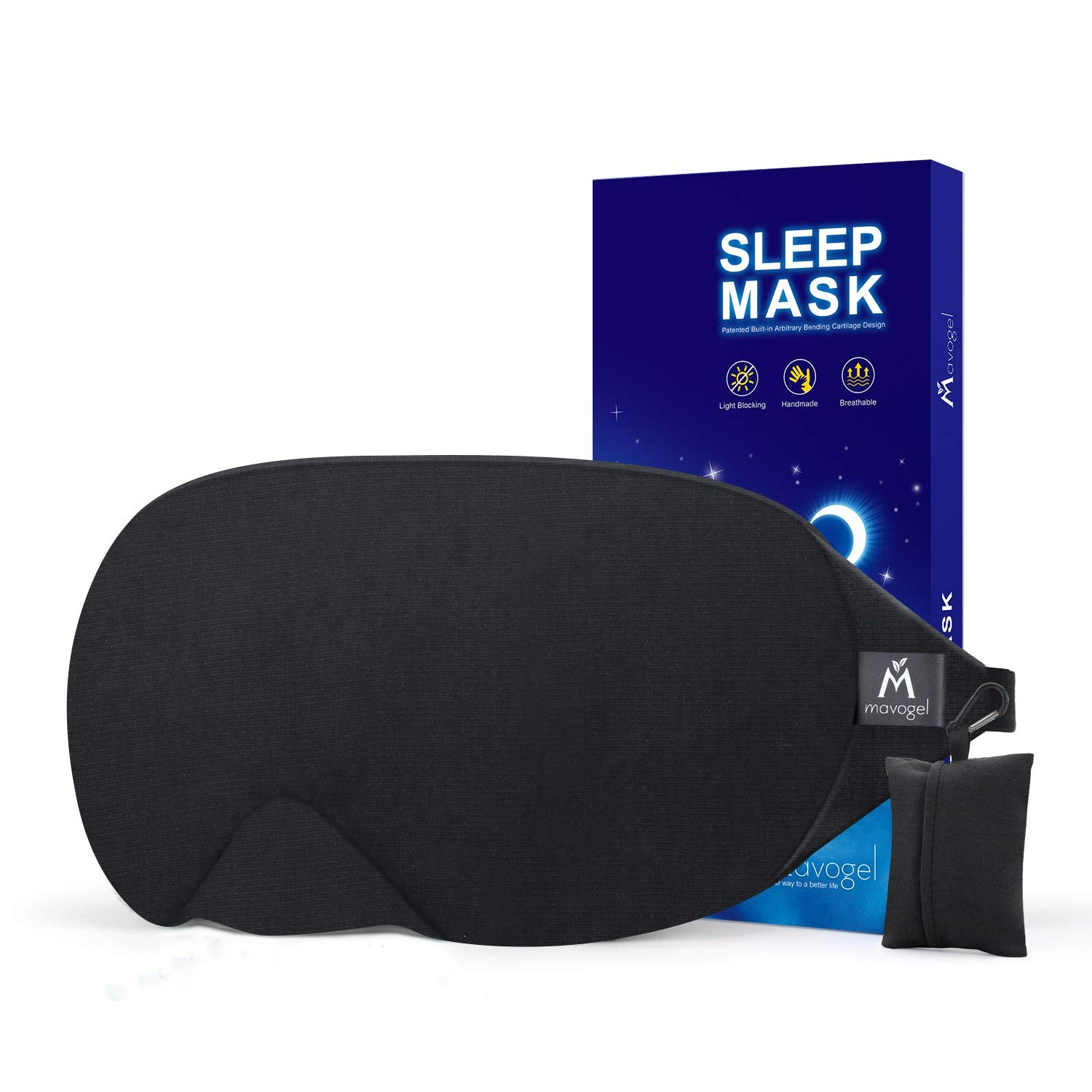 Mavogel Cotton Sleep Eye Mask - Updated Design Light Blocking Sleep Mask, Soft and Comfortable Night Eye Mask for Men Women, Eye Blinder for Travel/Sleeping/Shift Work, Includes Travel Pouch, Black