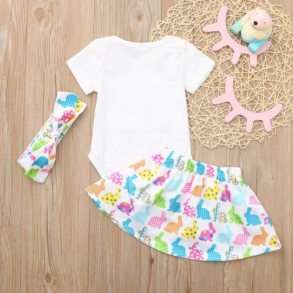 DDLmax Easter Toddler Baby Short Sleeves Rabbit Romper Tops+Skirt+Headbands Set Outfit