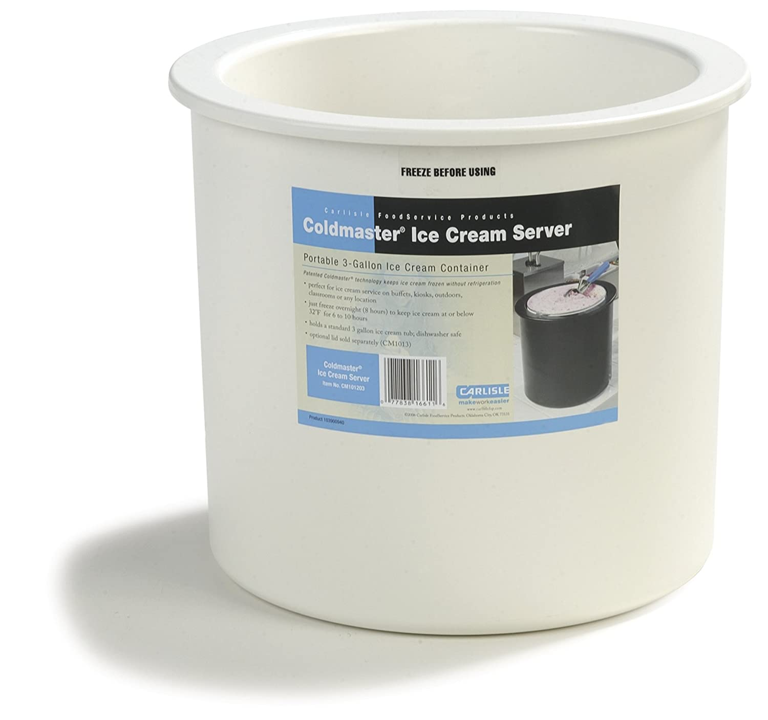 Carlisle CM101202 Coldmaster Insulated Ice Cream Server and Lid, 3 Gallon Capacity, White