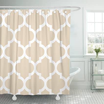 Accrocn Classic Modern Vintage Chic Moroccan Quatrefoil Ivory 54x72 Inches Waterproof Shower Curtain Curtains Fabric Decorative