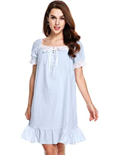 15c8894c37 Avidlove Womens Cotton Victorian Vintage Short Sleeve Martha Nightgown  Sleepwear