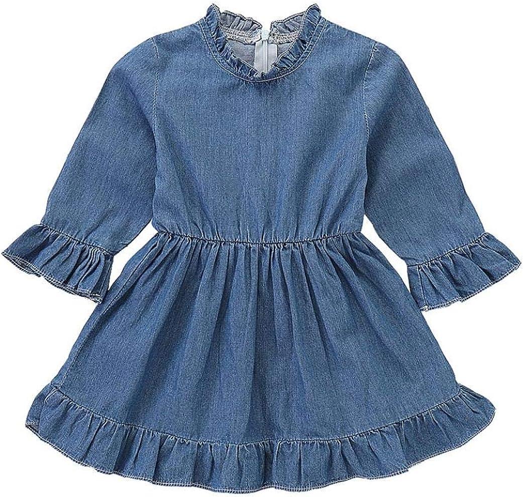 Kehen Infant Baby Girls Fashion Denim Dress Half Sleeve Summer Autumn Princess Dresses Little Girl Swing Dress