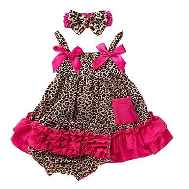Liyukee Baby Girl Bow sin Mangas Tirantes Falda + Shorts + Diadema ...