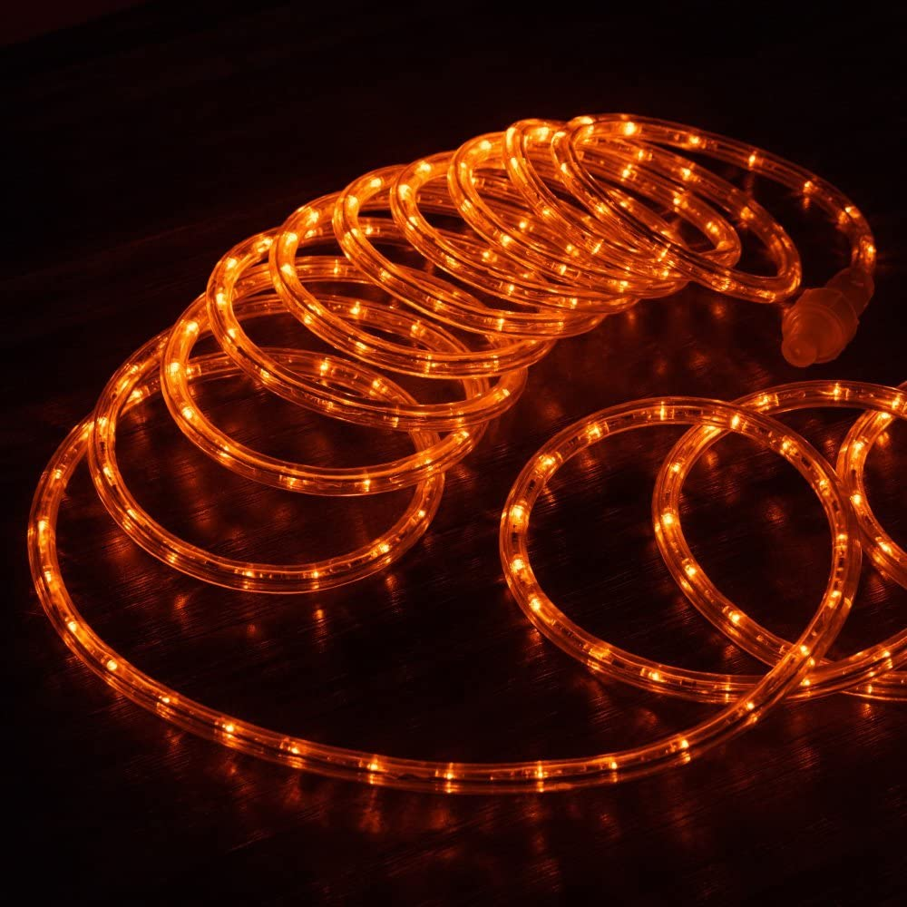 """West Ivory 3/8"""" (10' feet) Orange LED Rope Lights 2 Wire Accent Holiday Christmas Party Decoration Extendable Lighting (10', 25', 60', 150' ft Option)