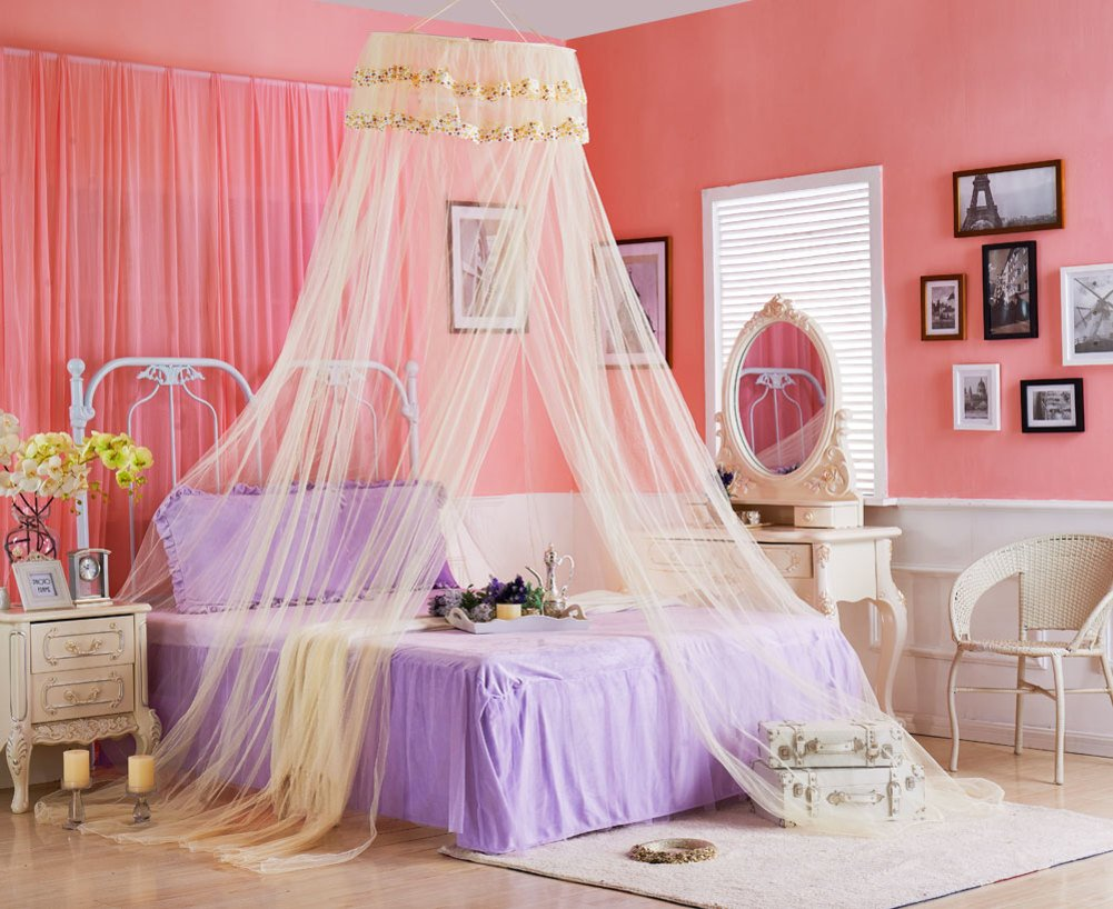 DE&QW Dome lace mosquito nets, Boho & beach Luxury mosquito net Breathable anti-mosquitoes bed canopy curtains-B Full-size