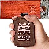Emergency Sleeping Bag With Hood | Ultralight, Waterproof, Thermal Mylar Sleeping Bag Liner | Survival Bivy Space…