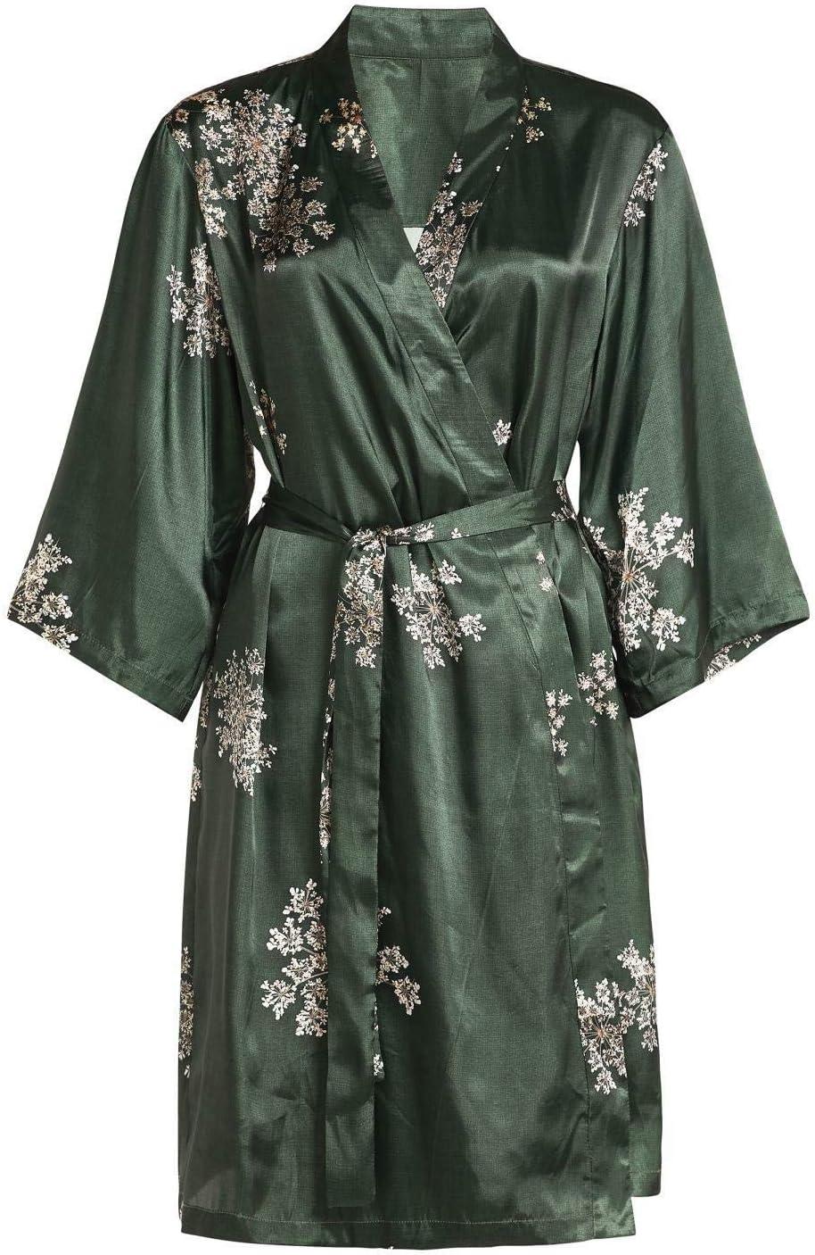 ESSENZA Kimono Sarai Lauren Flores Poliéster Satén Verde, Xs