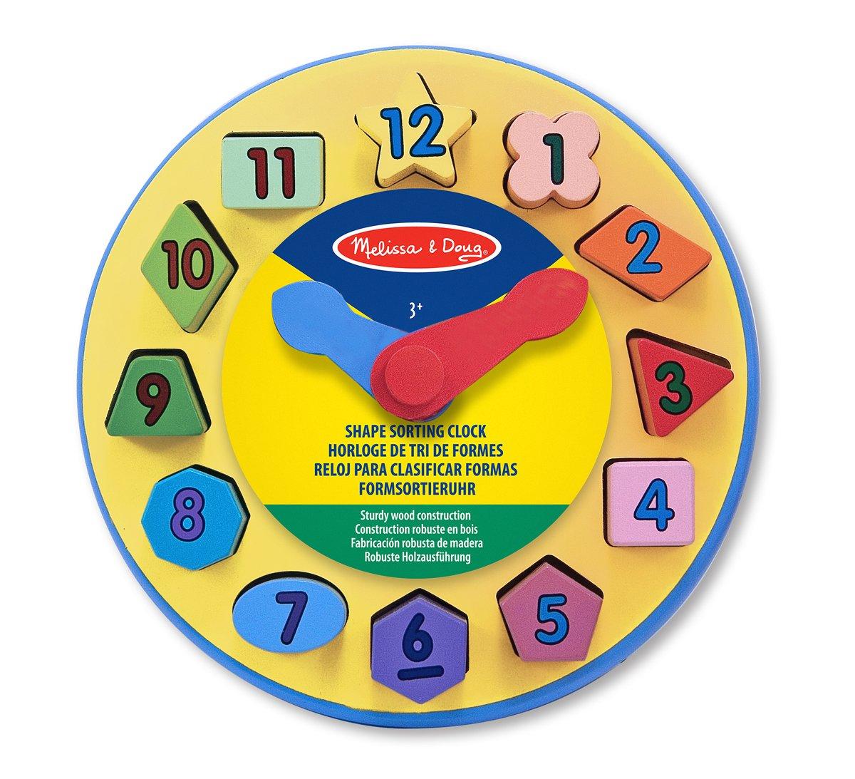 Melissa & Doug Wooden Shape Sorting Learning Clock