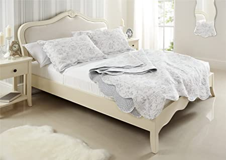 Romance French Style Wooden And Upholstered Bed Frame King Size
